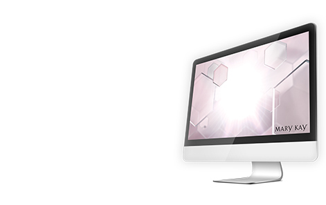 A desktop computer showcases wallpaper featuring Mary Kay's new TimeWise Miracle Set 3D skin care regimen.
