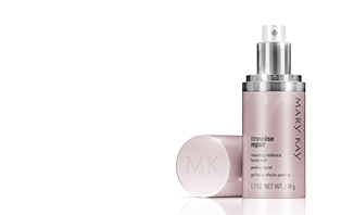 See the latest intense exfoliation treatment from Mary Kay: TimeWise Repair Revealing Radiance Facial Peel. In right corner, the product is displayed as a purple bottle with the top cap removed to show a silver and white pump.